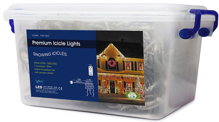 Vivo© 200 White LED Christmas Icicle Lights with 8 Mode Chaser Function, Remote Control and Hard Plastic Carry Storage Box Indoor Outdoor Xmas Mains Powered with Memory Function (2016 Version)