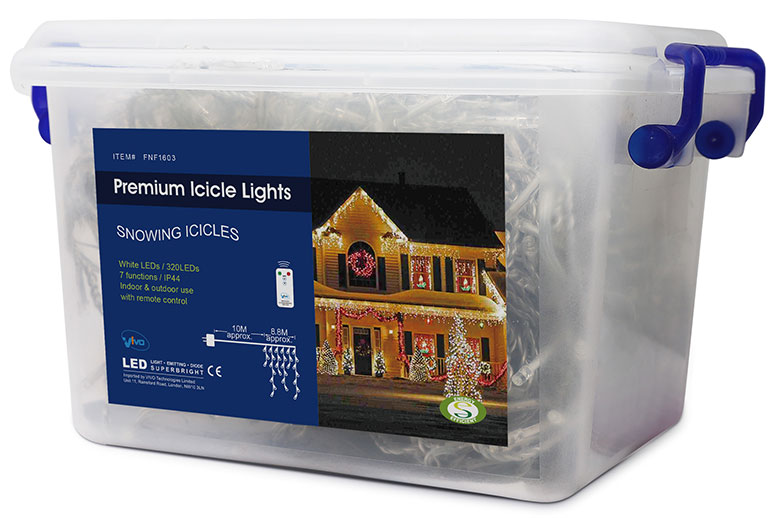 Vivo© 320 White LED Christmas Icicle Lights with 8 Mode Chaser Function, Remote Control and Hard Plastic Carry Storage Box Indoor Outdoor Xmas Mains Powered with Memory Function (2016 Version)