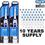 2 X Braun Advance Oral B Electric Toothbrush + 40 Toothbrush Heads + Batteries