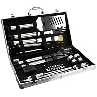 21pc BBQ Tool Barbecue Utensil Camping Set Stainless Steel Cutlery Garden Home