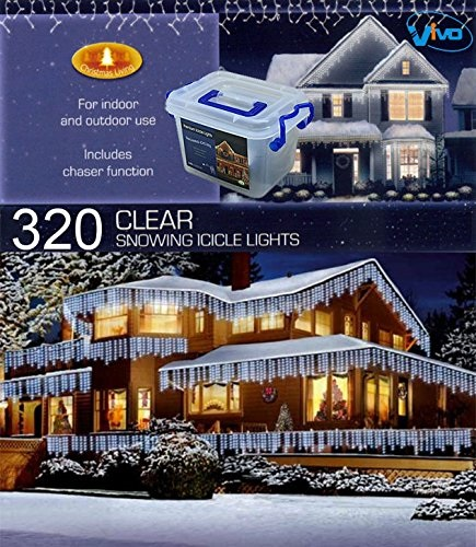 Vivo© 320 White LED Christmas Icicle Lights with 8 Mode Chaser Function and Hard Plastic Carry Storage Box Indoor Outdoor Xmas Mains Powered with Memory Function
