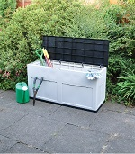 320L Outdoor Garden Plastic Storage Tools Utility Chest Cushion Shed Toy Box