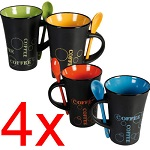 4 X Coffee Mug With Spoon Tea Set Drink Latte Cups Ceramic Kitchen Espresso Cafe