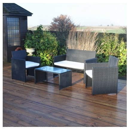 4pc Black Rattan Effect Garden Furniture Set Patio Outdoor 4 Seater PRO