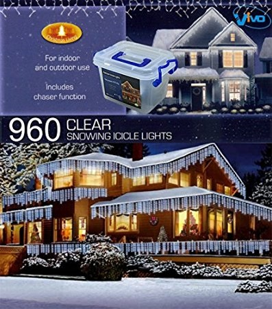 Vivo 960 White Led Christmas Icicle Lights With 8 Mode Chaser Function And Hard Plastic Carry Storage Box Indoor Outdoor Xmas Mains Ed Memory