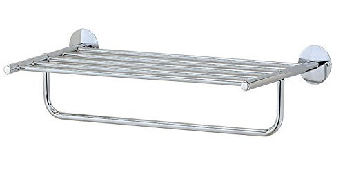 Vivo © Single Tier Wall Rack Shelf and Towel Holder Chrome Finish for Bathroom / Shower