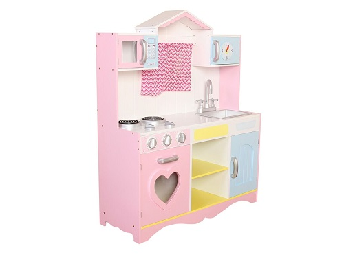 Large Girls Kids Pink Wooden Play Kitchen Childrenu0027s Role Play Pretend Set  Toy