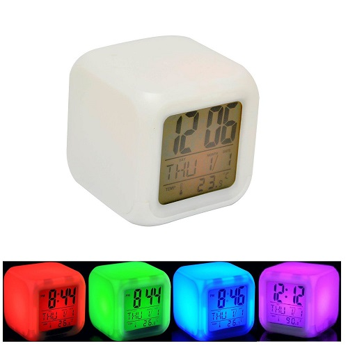 7 Led Multi Colour Changing Digital Alarm Clock Thermometer Date Time Snooze LCD