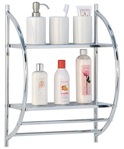 Vivo © 2 Tier Wall Mounted Towel Rack/Rail Chrome Bathroom Shelf Storage Holder Integrated