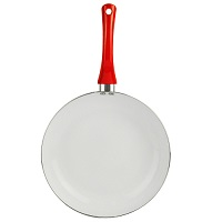 28cm Ceramic Non Stick Frying Pan Easy Clean Soft Grip Handle Red Gas Hob