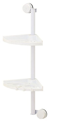 Vivo © White 2 Tier Corner Shower Bathroom Shelf Organiser Caddy Suction  Cups No Drilling