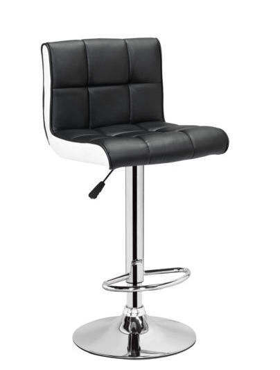 Black White Leather 360 Degree Swivel Breakfast Kitchen Bar Chair Stool Gas Lift
