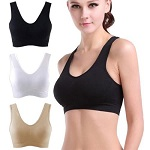 3 x  NEW WOMENS LADIES SEAMLESS CROP TOP COMFORT BRA SPORTS VEST STRETCH SHAPEWEAR