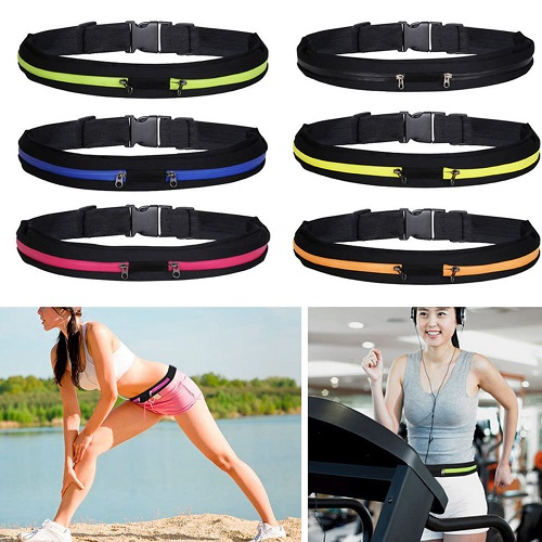 Runner Waist Belt Sport Pack Bum Bag Jogging Pouch Universal Dual Pocket