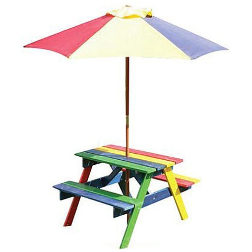 Children's Wooden Rainbow Garden Picnic Table Bench Parasol Set Kids