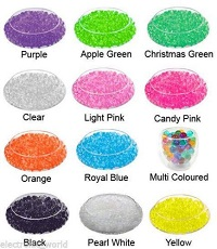10 colours - EXPANDING WATER CRYSTAL SOIL GEL BALL BEADS WEDDING VASE FLORIST BIO SOIL