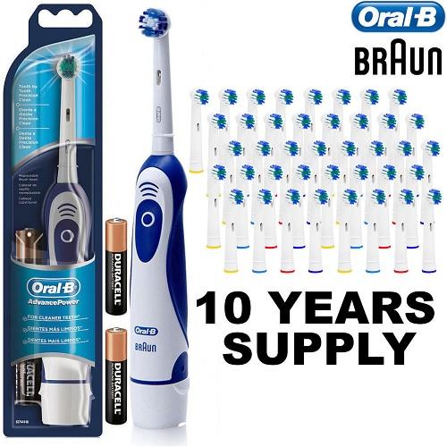 Braun Advance Oral B Electric Toothbrush + 41 Toothbrush Heads +