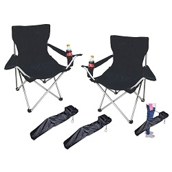 2x Folding Outdoor Black Camping Chair Fishing Foldable Beach Garden Furniture