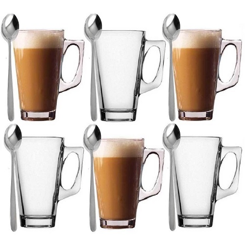 6 Latte Coffee Glasses & Spoons Cappuccino Lattes Tea Glass Cups Hot Drink Mugs