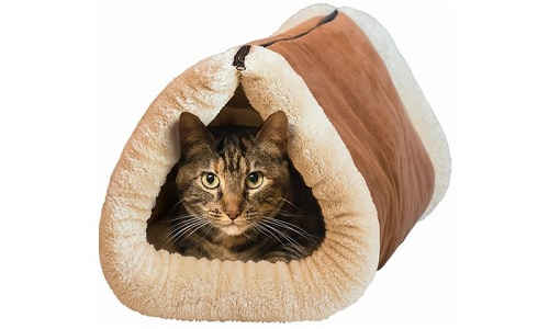 Two-In-One Cat Cave and Bed with Self-Heating Thermal Core