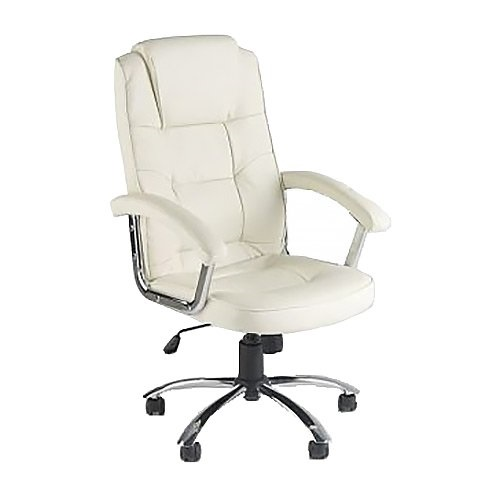 Premium Quality Office Chair Cream Leather Manager Gas Lift Chrome Swivel Base with Castor Wheels