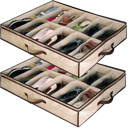 Ordinaire 2 X 12 PAIR Underbed Under Bed Shoes Storage Space Saving Shoe Organizer  Bag Box