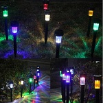 10 x Solar Powered Plastic LED Lawn Light Waterproof Outdoor Garden Landscape Yard Path Lamp - Colorful