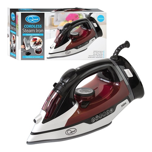 Quest 2400w Cordless ceramic Steam Iron, Rapid heating & Self cleaning with Auto shut off mode & Special Non-Stick Soleplate