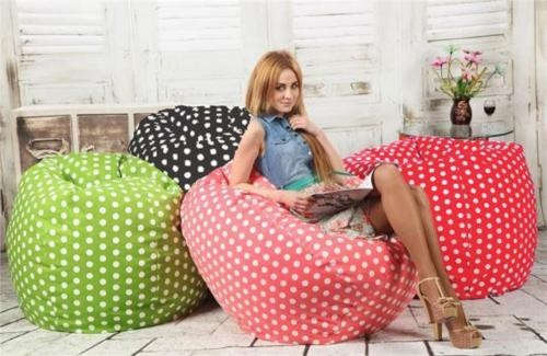 XXL LARGE ROUND POLKA DOT BEANBAG CHAIR CUSHION SOFA LOUNGER COMFY GAMING GTA