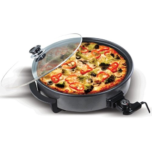 Large 40cm Round Multi Cooker with Glass Lid 1500W Non Stick Surface with Cool Touch Handles