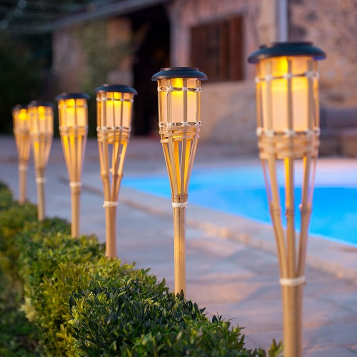 3 x LED Solar Powered Outdoor Bamboo Torch Garden Border Stake Patio Path Light