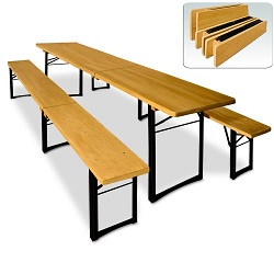 Add a review for: Garden Wooden Set Dining Trestle Beer Table and Bench Folding Outdoor Furniture