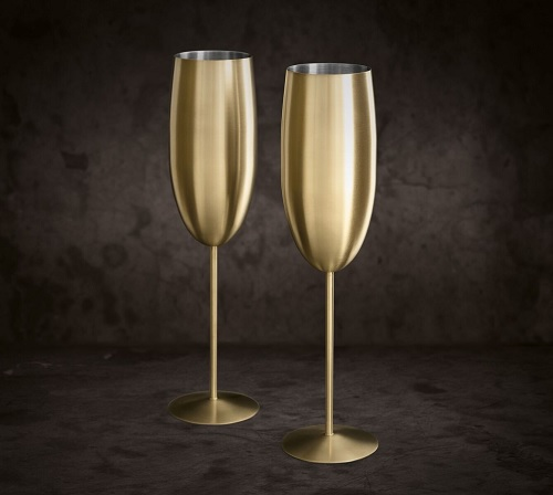 2 X Gold Champagne Flutes