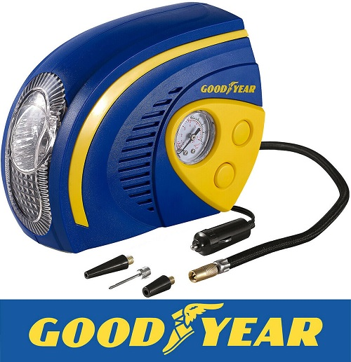 Goodyear 2 in 1 Tyre Air Compressor Inflator With LED Light Car Bike Bicycle