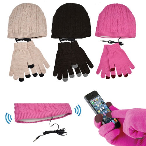Smartphone Gloves & Beanie Headphone Hat Touchscreen iPhone iPad Winter Headset