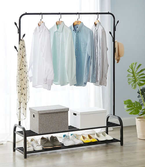 Heavy Duty Clothes Hanging Rail Clothing Coat Stand Double Shoe Rack Shelf Hooks