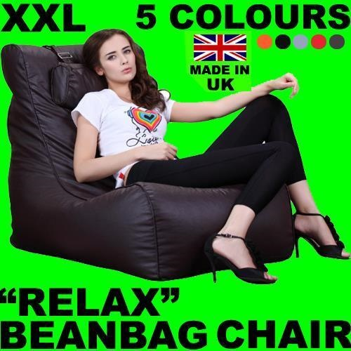 XXL RELAX LEATHER BEANBAG HIGH BACK HEAD REST CHAIR GAMER GAMING BEAN BAG SOFA