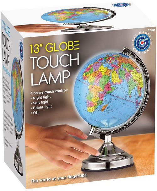 Illuminated World Globe 4 Way Touch Control Light Up Table Lamp