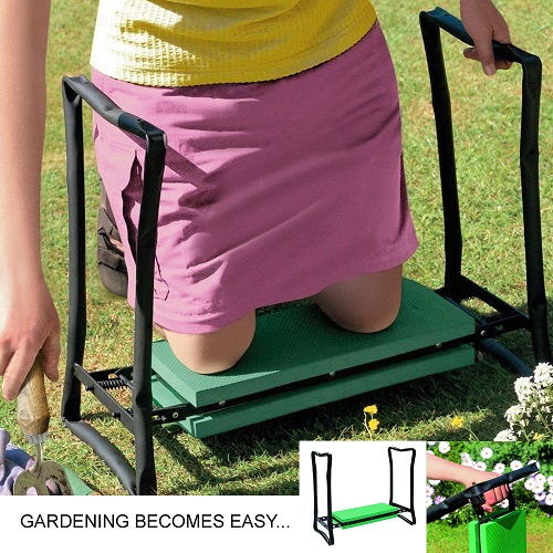 Crystals Heavy Duty Portable Foldable Foam Padded Garden Kneeler Gardening Knee Pad Metal Stool Seat