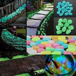 100pc Glow In The Dark Pebble Stones Luminous Garden Walkway Flower Bed Shiny