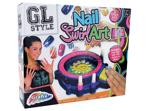 Nail Spa Swirl Art Salon Kit Work Station Paint Brush Stickers Glitter