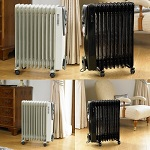 2500W Oil Filled Radiator Heater with Timer 11 Fin Heats Up Rooms Quickly Wheels