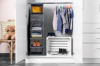 16 Modular Shelving Storage Organizing Closet with Translucent Doors and Cube Design