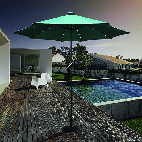 LED Solar 2.7m Parasol Green
