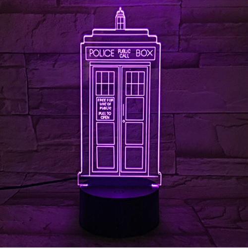 Police booth LED 3D Illuminated Illusion Light Sculpture Desk Lamp Night USB