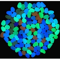 100 Pcs Colorful Glow in the Dark Luminous Pebbles for Walkway | Yard & Fish Tank decorative stones