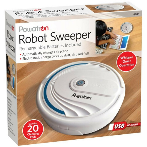 Rechargeable Robot Sweeper for Hard Floor Picks Up Dust, Dirt and Fluff Vacuum