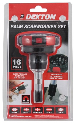 16pc Magnetic Palm Screwdriver Bit Set with Integrated Bit Holder Pro DIY NEW