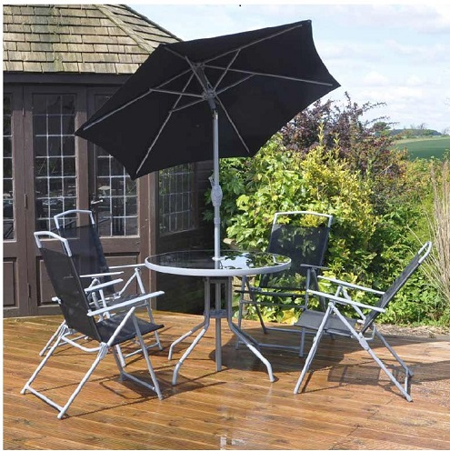 Black Round Garden and Outdoor Bistro Dining Patio Set for 4 with FREE 2m Parasol.