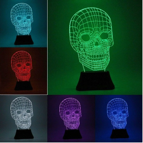 Skeleton Skull LED 3D Illuminated Illusion Light Sculpture Desk Lamp Night USB